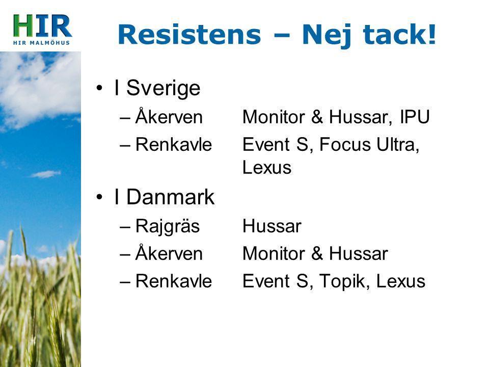 Resistens – Nej tack! I Sverige –ÅkervenMonitor & Hussar, IPU –RenkavleEvent S, Focus Ultra, Lexus I Danmark –RajgräsHussar –ÅkervenMonitor & Hussar –