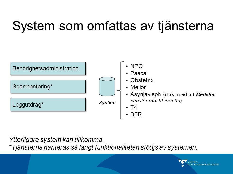 System som omfattas av tjänsterna NPÖ Pascal Obstetrix Melior Asynjavisph (i takt med att Medidoc och Journal III ersätts) T4 BFR System Behörighetsad