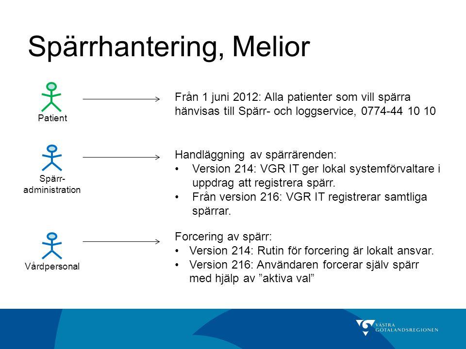 Spärrhantering, Melior Vårdpersonal Spärr- administration Patient Från 1 juni 2012: Alla patienter som vill spärra hänvisas till Spärr- och loggservic