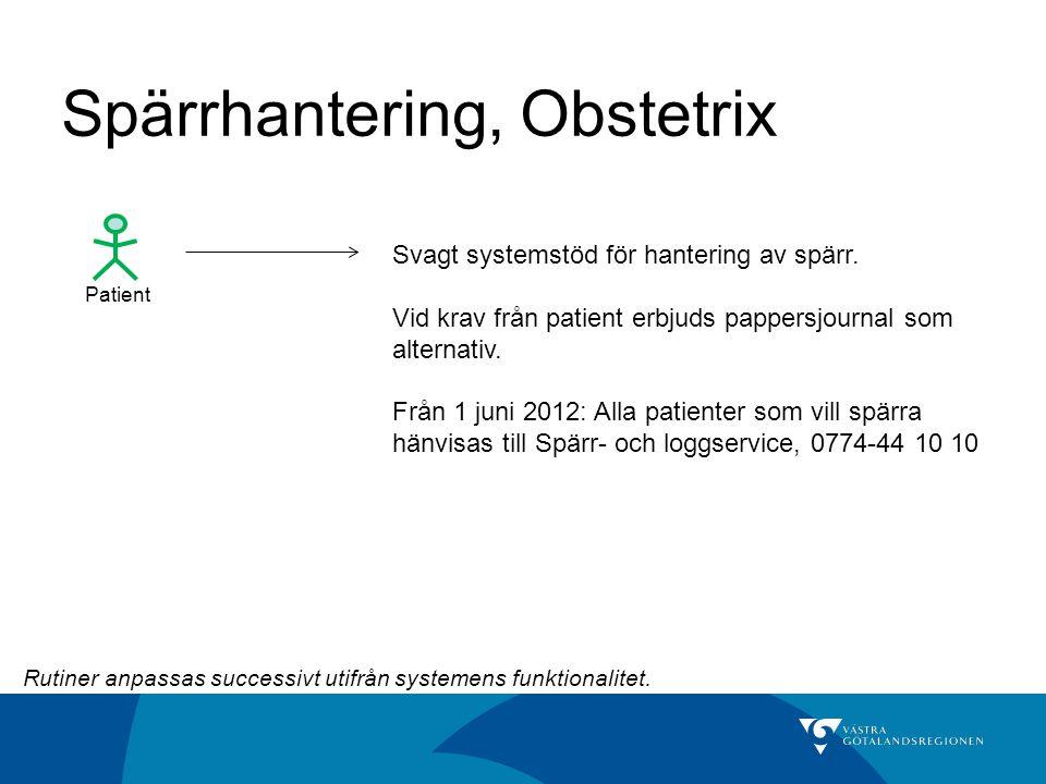 Spärrhantering, Obstetrix Patient Svagt systemstöd för hantering av spärr. Vid krav från patient erbjuds pappersjournal som alternativ. Från 1 juni 20