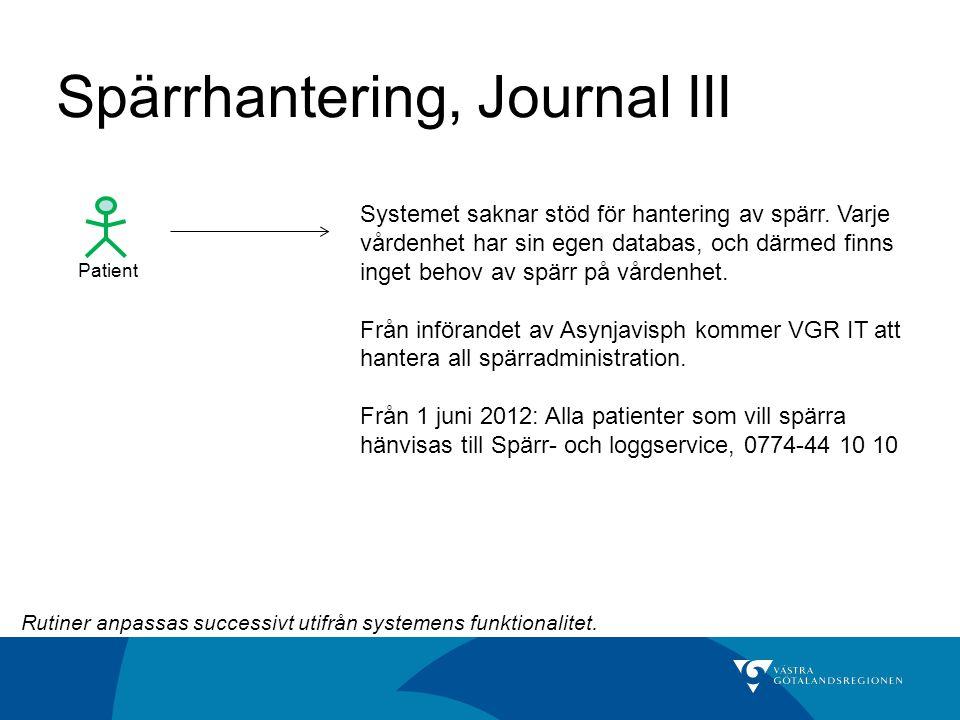 Spärrhantering, Journal III Patient Systemet saknar stöd för hantering av spärr. Varje vårdenhet har sin egen databas, och därmed finns inget behov av