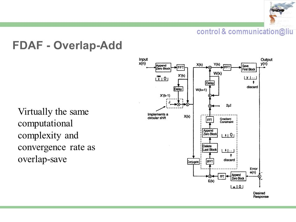 control & communication@liu FDAF - Overlap-Add Virtually the same computational complexity and convergence rate as overlap-save