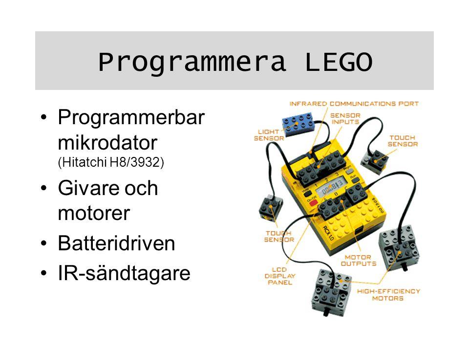 Programmera LEGO Programmerbar mikrodator (Hitatchi H8/3932) Givare och motorer Batteridriven IR-sändtagare