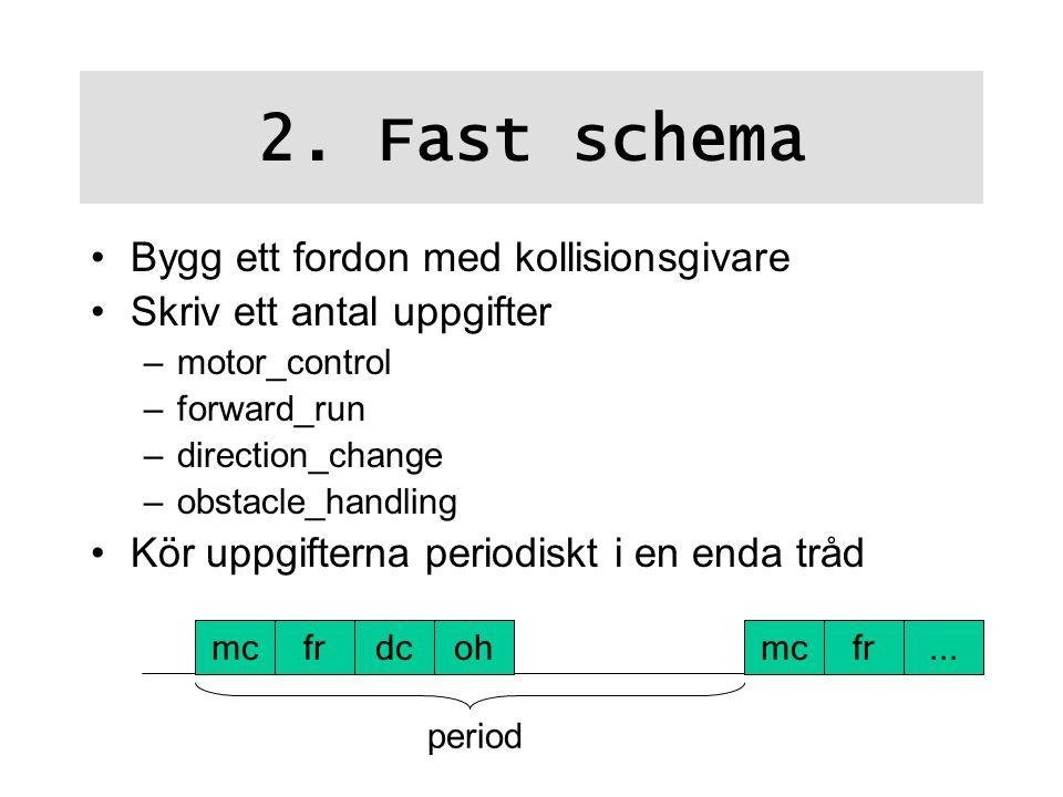 2. Fast schema Bygg ett fordon med kollisionsgivare Skriv ett antal uppgifter –motor_control –forward_run –direction_change –obstacle_handling Kör upp