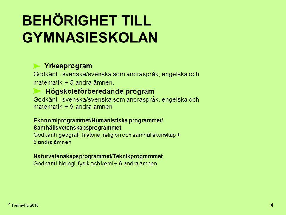 BEHÖRIGHET TILL GYMNASIESKOLAN Yrkesprogram Godkänt i svenska/svenska som andraspråk, engelska och matematik + 5 andra ämnen.