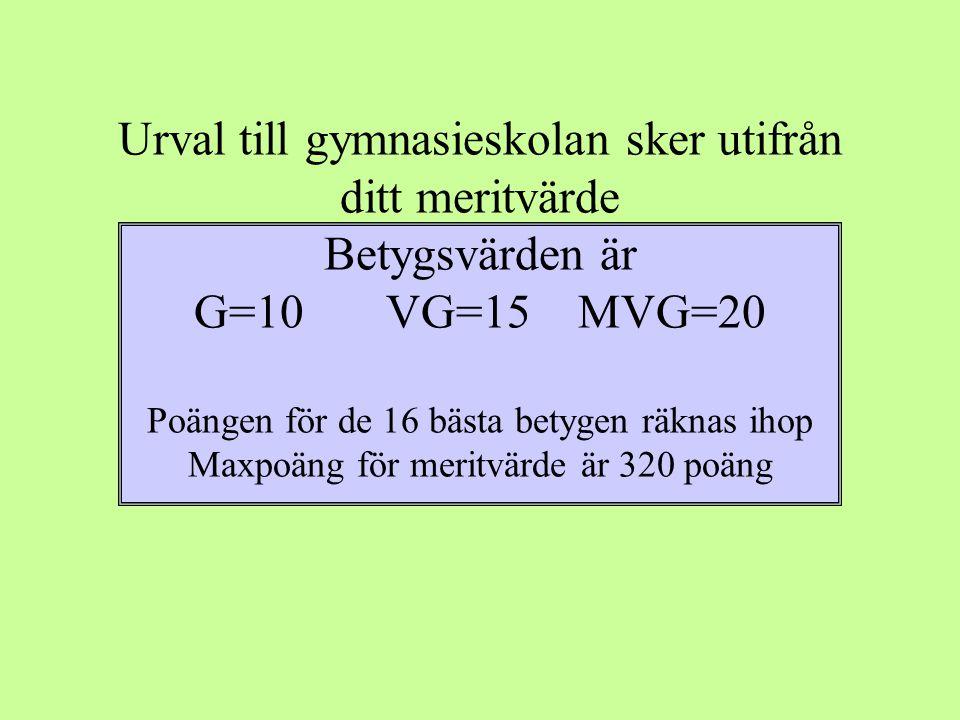 Urval till gymnasieskolan sker utifrån ditt meritvärde Betygsvärden är G=10VG=15MVG=20 Poängen för de 16 bästa betygen räknas ihop Maxpoäng för meritvärde är 320 poäng