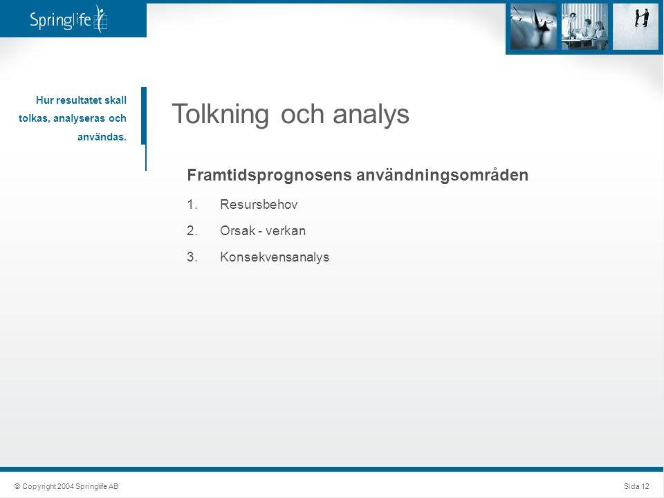 Tolkning och analys Hur resultatet skall tolkas, analyseras och användas. Framtidsprognosens användningsområden 1.Resursbehov 2.Orsak - verkan 3.Konse