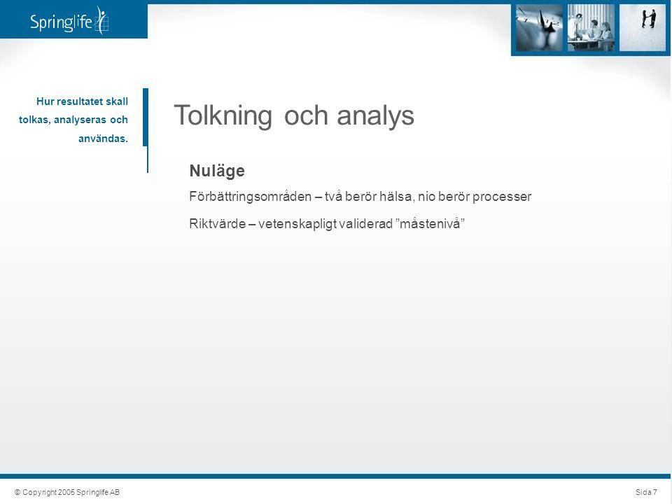 © Copyright 2005 Springlife ABSida 7 Tolkning och analys Hur resultatet skall tolkas, analyseras och användas. Nuläge Förbättringsområden – två berör