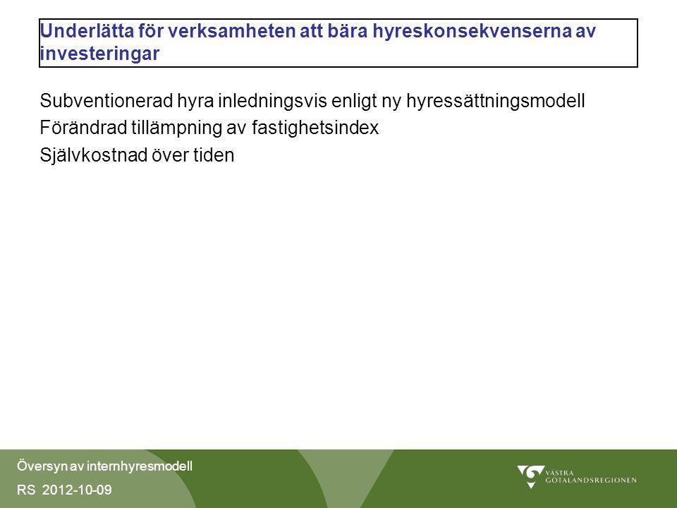 Översyn av internhyresmodell RS 2012-10-09 Underlätta för verksamheten att bära hyreskonsekvenserna av investeringar Subventionerad hyra inledningsvis enligt ny hyressättningsmodell Förändrad tillämpning av fastighetsindex Självkostnad över tiden