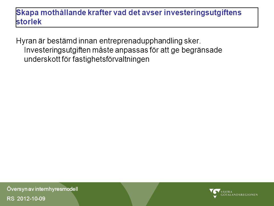 Översyn av internhyresmodell RS 2012-10-09 Skapa mothållande krafter vad det avser investeringsutgiftens storlek Hyran är bestämd innan entreprenadupphandling sker.