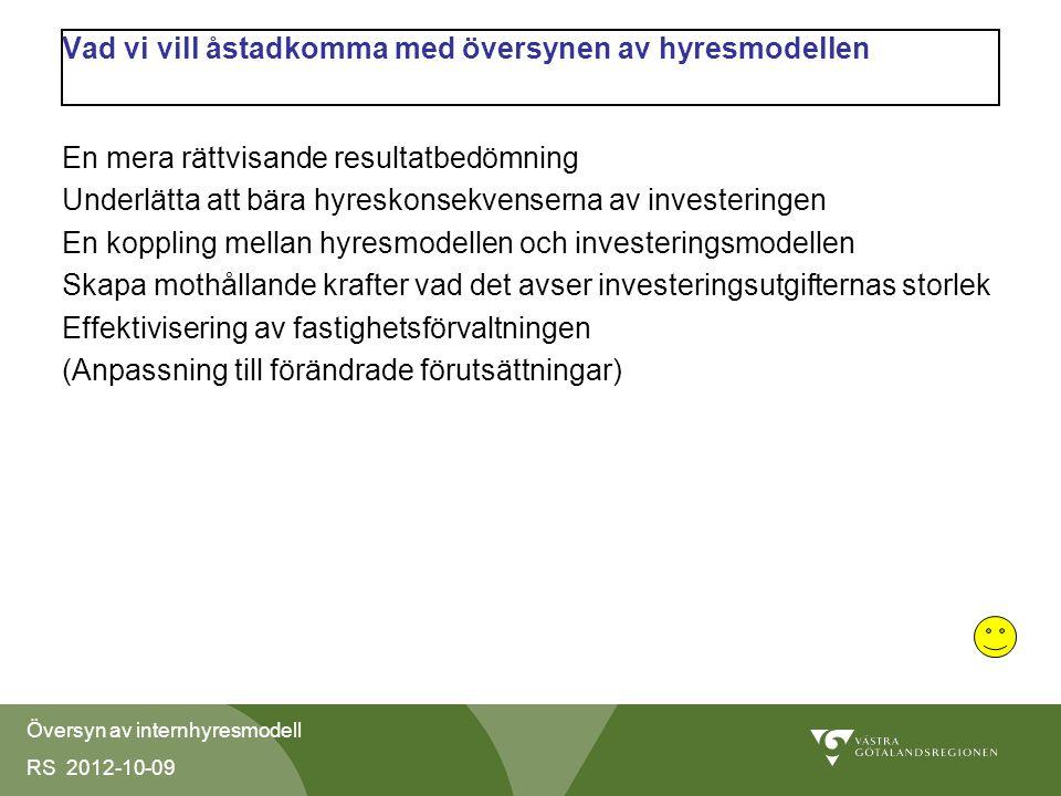 Översyn av internhyresmodell RS 2012-10-09 Vad vi vill åstadkomma med översynen av hyresmodellen En mera rättvisande resultatbedömning Underlätta att bära hyreskonsekvenserna av investeringen En koppling mellan hyresmodellen och investeringsmodellen Skapa mothållande krafter vad det avser investeringsutgifternas storlek Effektivisering av fastighetsförvaltningen (Anpassning till förändrade förutsättningar)