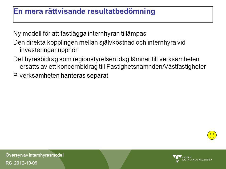 Översyn av internhyresmodell RS 2012-10-09 En mera rättvisande resultatbedömning Ny modell för att fastlägga internhyran tillämpas Den direkta kopplingen mellan självkostnad och internhyra vid investeringar upphör Det hyresbidrag som regionstyrelsen idag lämnar till verksamheten ersätts av ett koncernbidrag till Fastighetsnämnden/Västfastigheter P-verksamheten hanteras separat