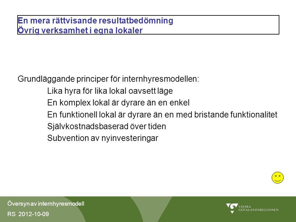 Översyn av internhyresmodell RS 2012-10-09 Effektivisering av fastighetsförvaltningen Krav på effektivisering av såväl byggprocess som förvaltning genom att hyran sätts enligt en förutbestämd metod och utan koppling till självkostnaden och att fastighetsindex beslutas i budgetprocessen