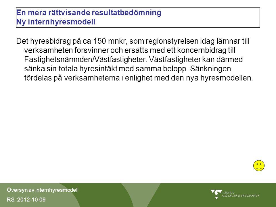 Översyn av internhyresmodell RS 2012-10-09 En mera rättvisande resultatbedömning Ny internhyresmodell Det hyresbidrag på ca 150 mnkr, som regionstyrelsen idag lämnar till verksamheten försvinner och ersätts med ett koncernbidrag till Fastighetsnämnden/Västfastigheter.
