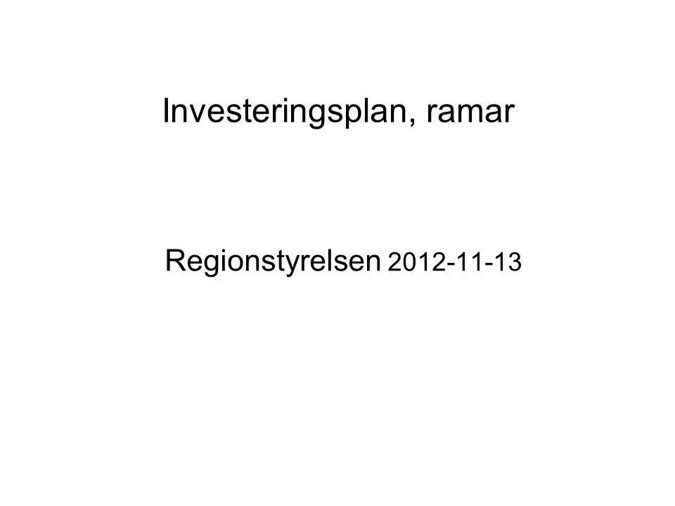 Investeringsplan, ramar Regionstyrelsen 2012-11-13