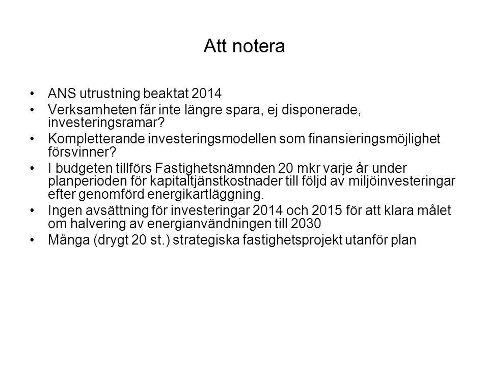 Att notera ANS utrustning beaktat 2014 Verksamheten får inte längre spara, ej disponerade, investeringsramar.