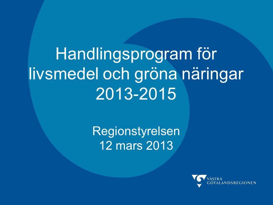 Handlingsprogram för livsmedel och gröna näringar 2013-2015 Regionstyrelsen 12 mars 2013
