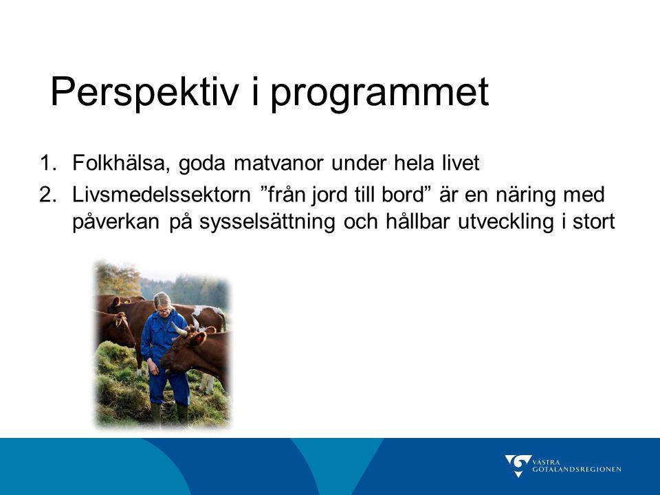 """Perspektiv i programmet 1.Folkhälsa, goda matvanor under hela livet 2.Livsmedelssektorn """"från jord till bord"""" är en näring med påverkan på sysselsättn"""