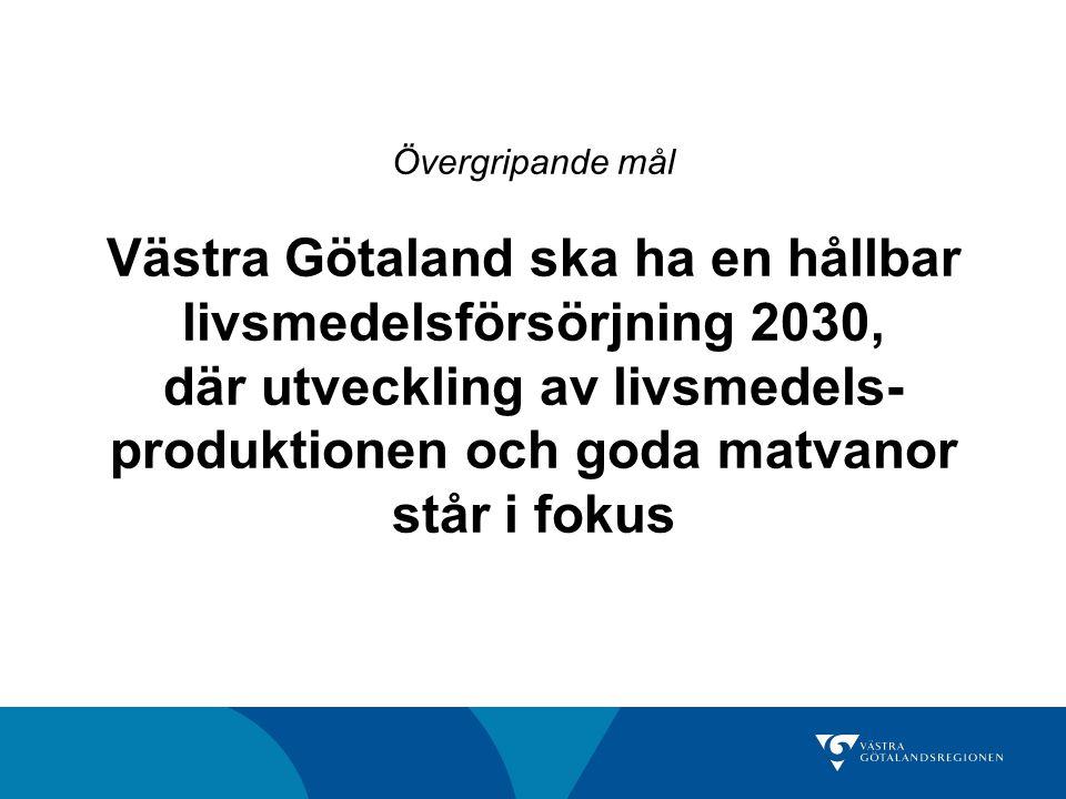 Övergripande mål Västra Götaland ska ha en hållbar livsmedelsförsörjning 2030, där utveckling av livsmedels produktionen och goda matvanor står i fo