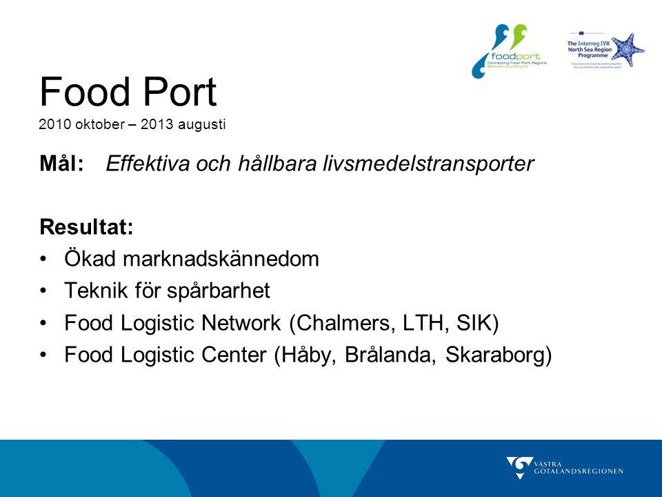 Food Port 2010 oktober – 2013 augusti Mål: Effektiva och hållbara livsmedelstransporter Resultat: Ökad marknadskännedom Teknik för spårbarhet Food Log