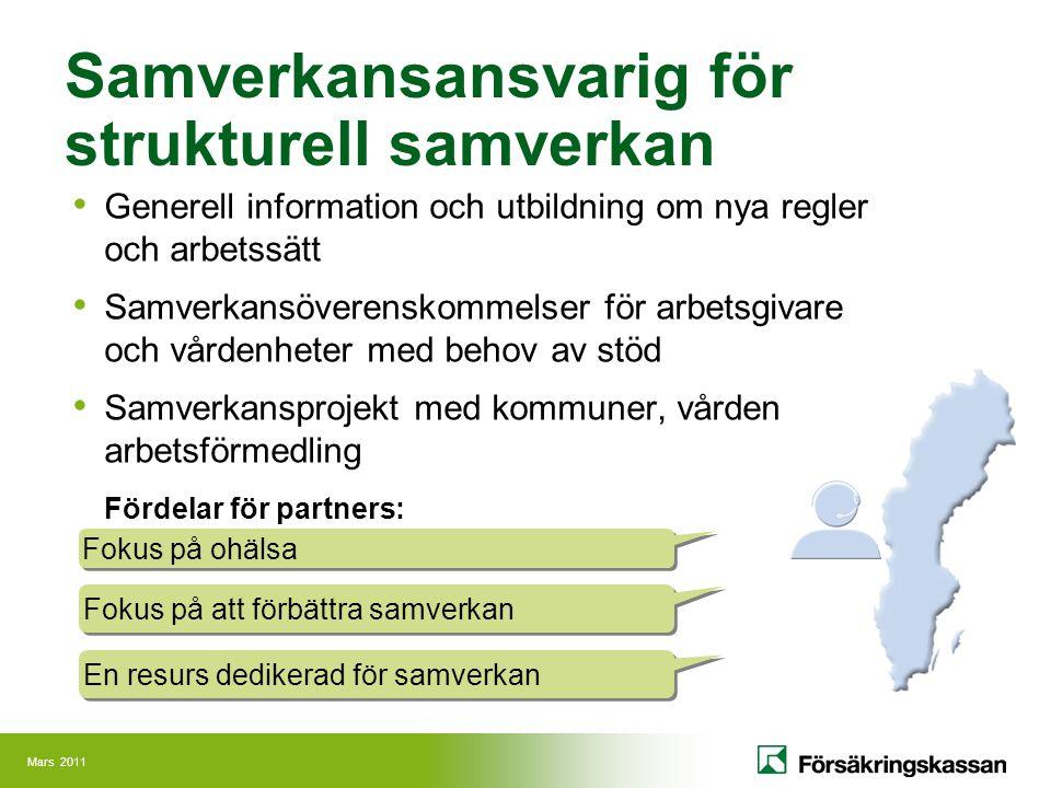 Mars 2011 Samverkansansvarig för strukturell samverkan Generell information och utbildning om nya regler och arbetssätt Samverkansöverenskommelser för