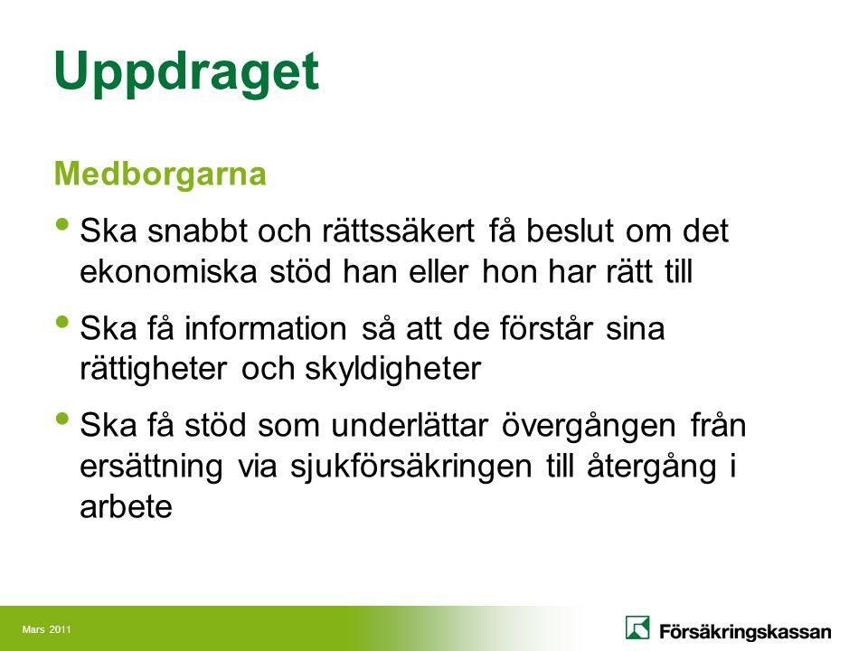 Mars 2011 Uppdraget Regeringen Ska få de underlag den behöver för beslut som gäller Försäkringskassans verksamhetsområde