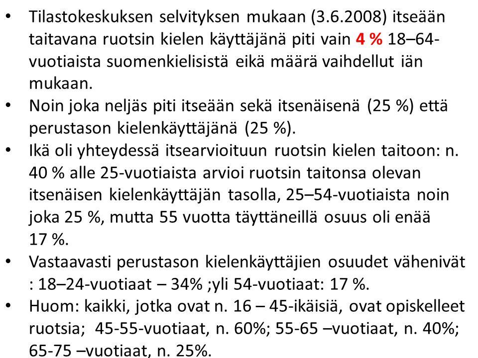 Tilastokeskuksen selvityksen mukaan (3.6.2008) itseään taitavana ruotsin kielen käyttäjänä piti vain 4 % 18–64- vuotiaista suomenkielisistä eikä määrä vaihdellut iän mukaan.