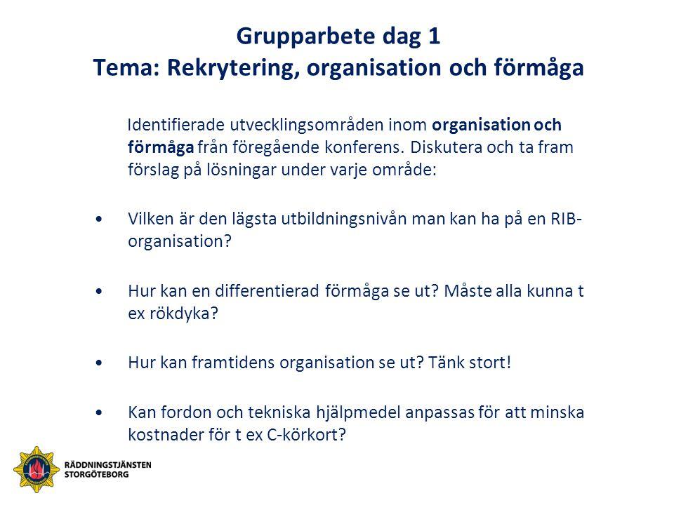 Grupparbete dag 1 Tema: Rekrytering, organisation och förmåga Identifierade utvecklingsområden inom organisation och förmåga från föregående konferens