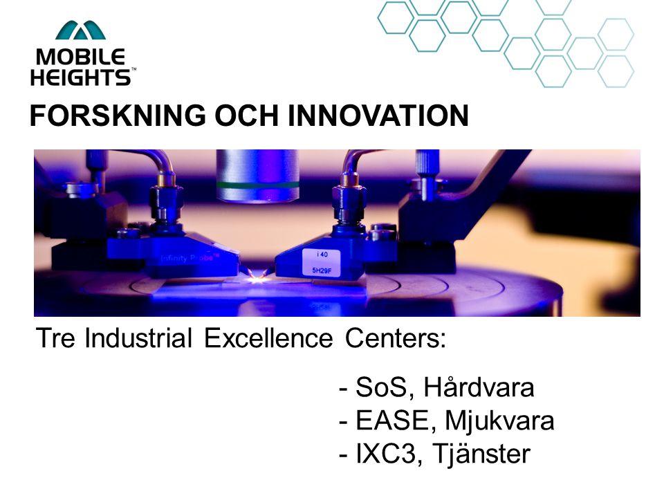 OWN LOGO FORSKNING OCH INNOVATION - SoS, Hårdvara - EASE, Mjukvara - IXC3, Tjänster Tre Industrial Excellence Centers: