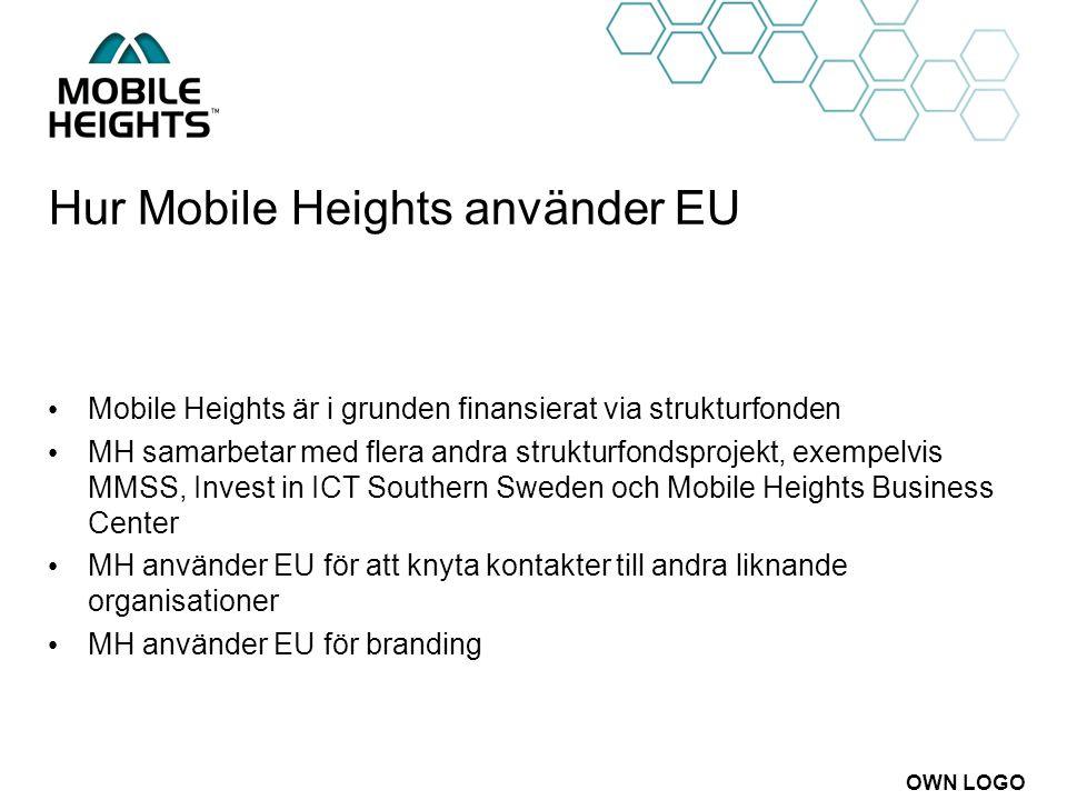 OWN LOGO Hur Mobile Heights använder EU Mobile Heights är i grunden finansierat via strukturfonden MH samarbetar med flera andra strukturfondsprojekt,