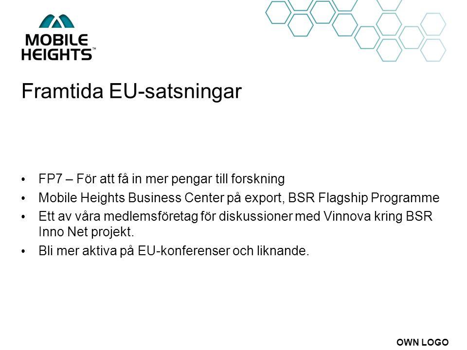 OWN LOGO Framtida EU-satsningar FP7 – För att få in mer pengar till forskning Mobile Heights Business Center på export, BSR Flagship Programme Ett av