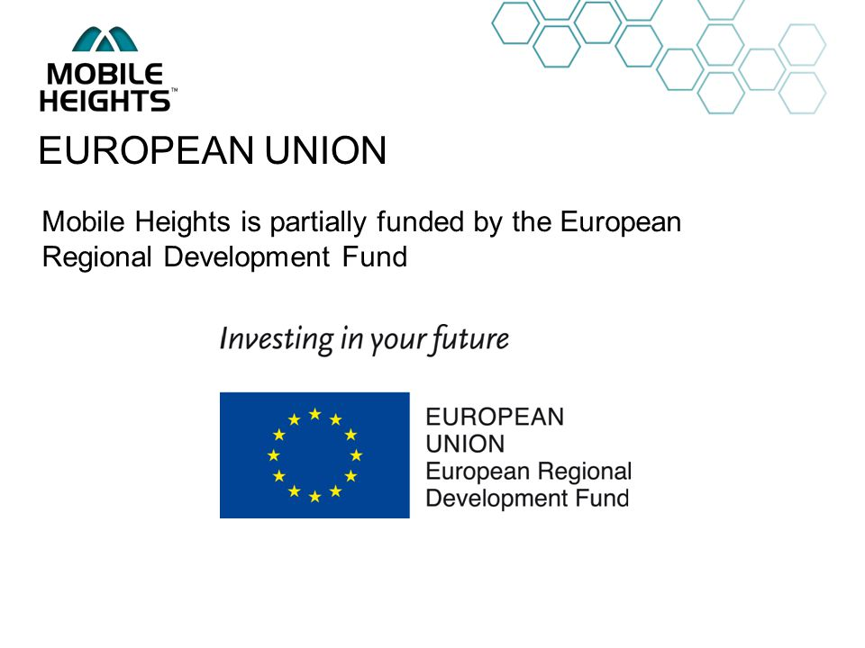 OWN LOGO Mobile Heights is partially funded by the European Regional Development Fund EUROPEAN UNION