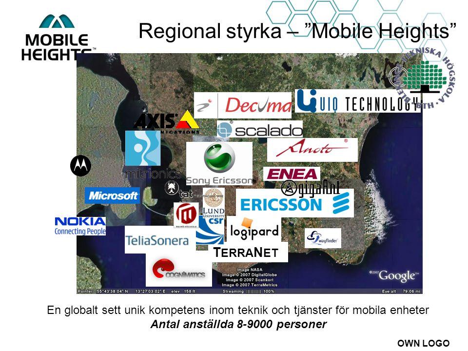 """OWN LOGO Regional styrka – """"Mobile Heights"""" T ERRA N ET En globalt sett unik kompetens inom teknik och tjänster för mobila enheter Antal anställda 8-9"""