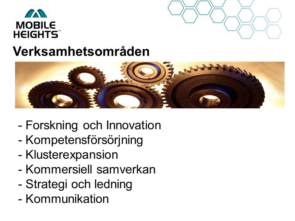 OWN LOGO Verksamhetsområden - Forskning och Innovation - Kompetensförsörjning - Klusterexpansion - Kommersiell samverkan - Strategi och ledning - Komm