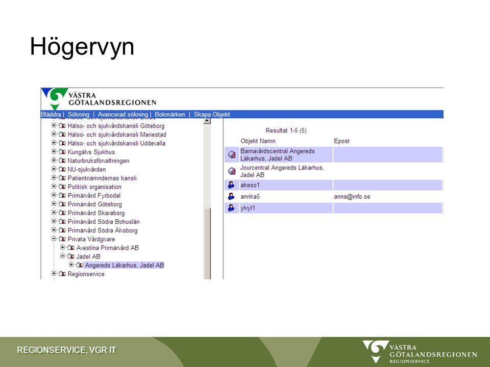REGIONSERVICE, VGR IT Högervyn