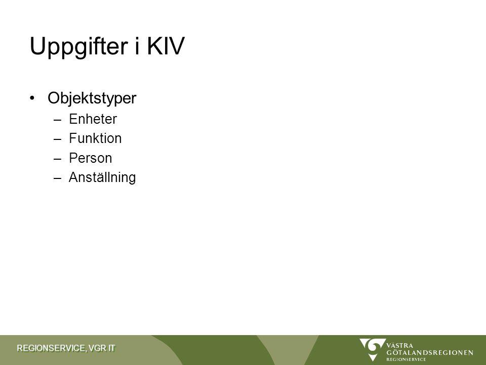 REGIONSERVICE, VGR IT Uppgifter i KIV Objektstyper –Enheter –Funktion –Person –Anställning