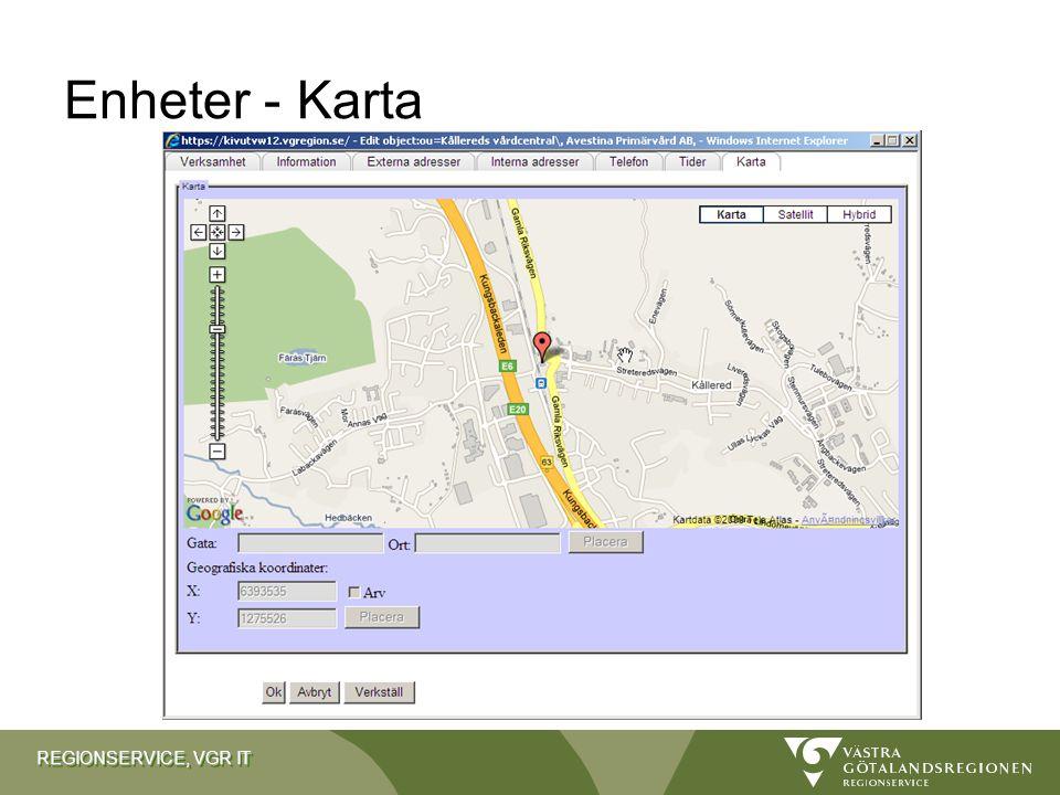 REGIONSERVICE, VGR IT Enheter - Karta
