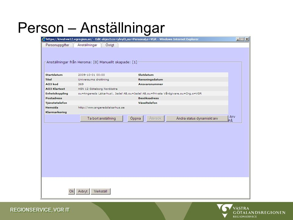 REGIONSERVICE, VGR IT Person – Anställningar