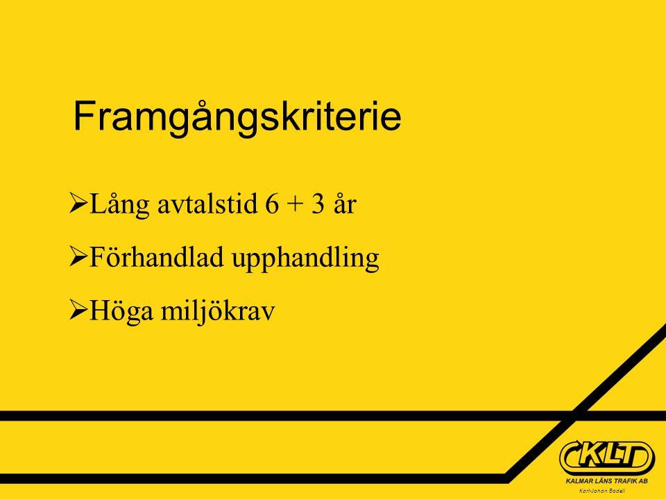 Karl-Johan Bodell Framgångskriterie  Lång avtalstid 6 + 3 år  Förhandlad upphandling  Höga miljökrav