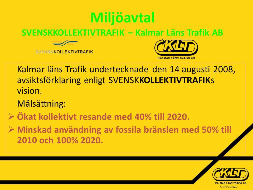 Karl-Johan Bodell Miljöavtal SVENSKKOLLEKTIVTRAFIK – Kalmar Läns Trafik AB Kalmar läns Trafik undertecknade den 14 augusti 2008, avsiktsförklaring enligt SVENSKKOLLEKTIVTRAFIKs vision.