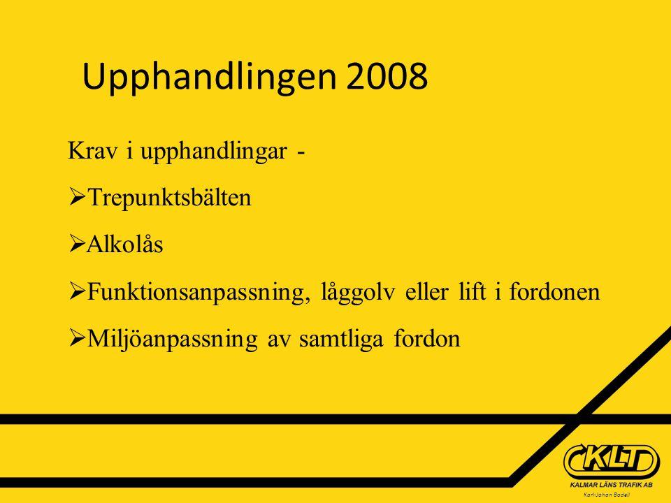 Karl-Johan Bodell Upphandlingen 2008 Krav i upphandlingar -  Trepunktsbälten  Alkolås  Funktionsanpassning, låggolv eller lift i fordonen  Miljöanpassning av samtliga fordon
