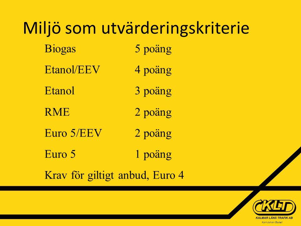 Karl-Johan Bodell Miljö som utvärderingskriterie Biogas 5 poäng Etanol/EEV4 poäng Etanol3 poäng RME2 poäng Euro 5/EEV2 poäng Euro 51 poäng Krav för giltigt anbud, Euro 4