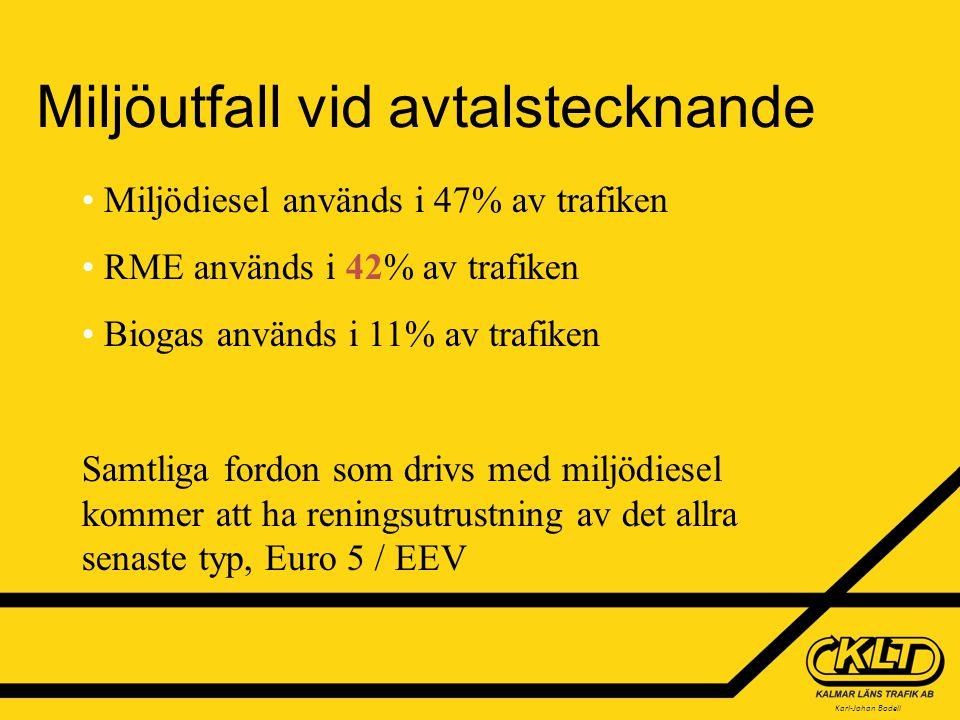 Karl-Johan Bodell Miljöutfall vid avtalstecknande Miljödiesel används i 47% av trafiken RME används i 42% av trafiken Biogas används i 11% av trafiken Samtliga fordon som drivs med miljödiesel kommer att ha reningsutrustning av det allra senaste typ, Euro 5 / EEV