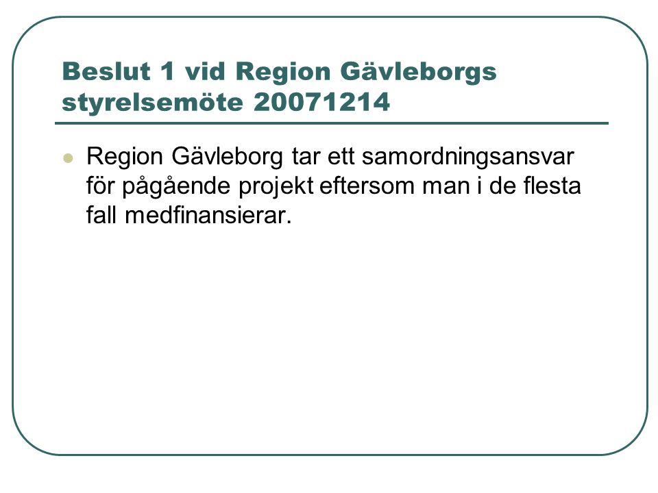 Beslut 1 vid Region Gävleborgs styrelsemöte 20071214 Region Gävleborg tar ett samordningsansvar för pågående projekt eftersom man i de flesta fall medfinansierar.
