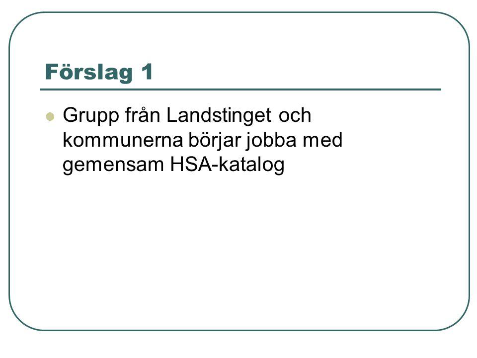 Förslag 1 Grupp från Landstinget och kommunerna börjar jobba med gemensam HSA-katalog