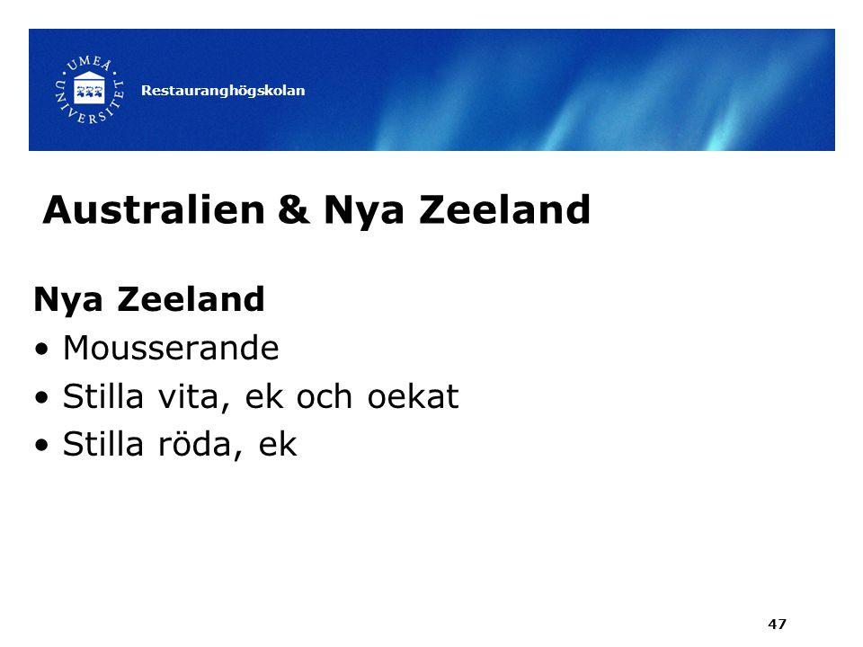 Australien & Nya Zeeland Nya Zeeland Mousserande Stilla vita, ek och oekat Stilla röda, ek Restauranghögskolan 47