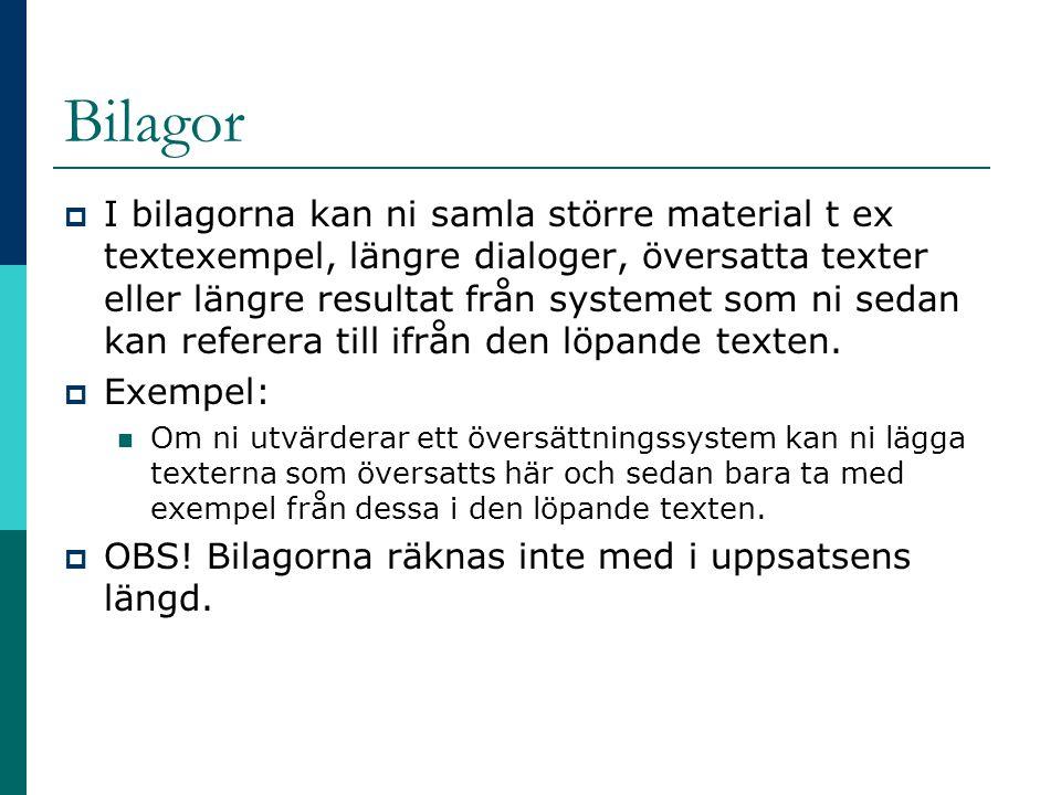 Bilagor  I bilagorna kan ni samla större material t ex textexempel, längre dialoger, översatta texter eller längre resultat från systemet som ni seda