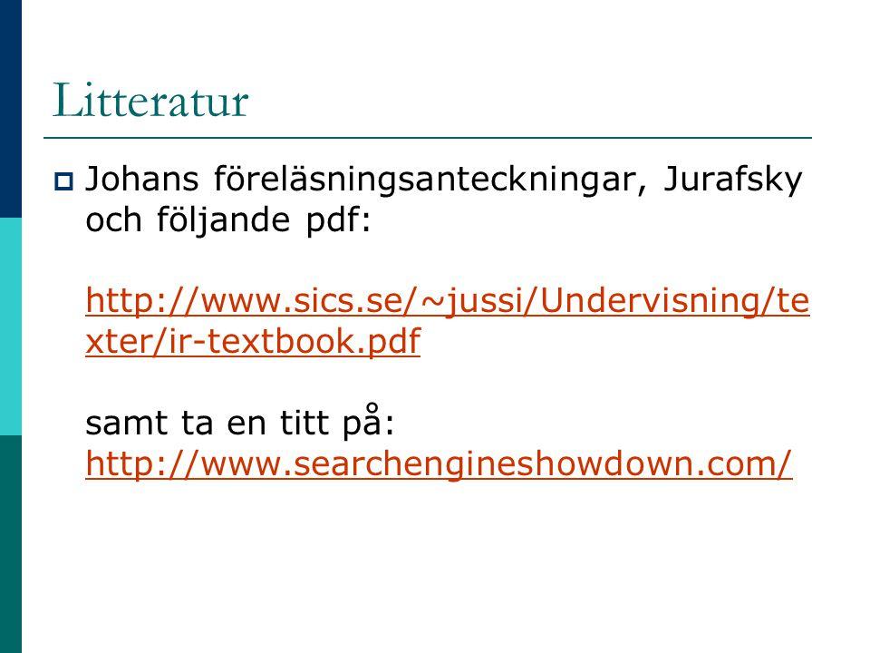 Litteratur  Johans föreläsningsanteckningar, Jurafsky och följande pdf: http://www.sics.se/~jussi/Undervisning/te xter/ir-textbook.pdf samt ta en tit