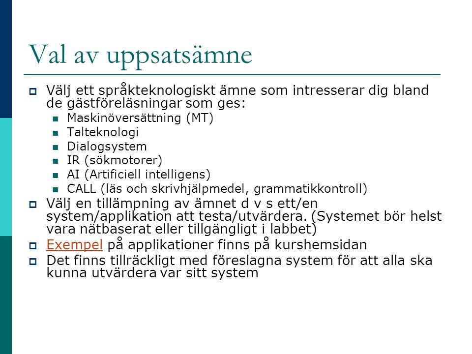 TTS-utvärdering  Hur klarar systemet homografer.