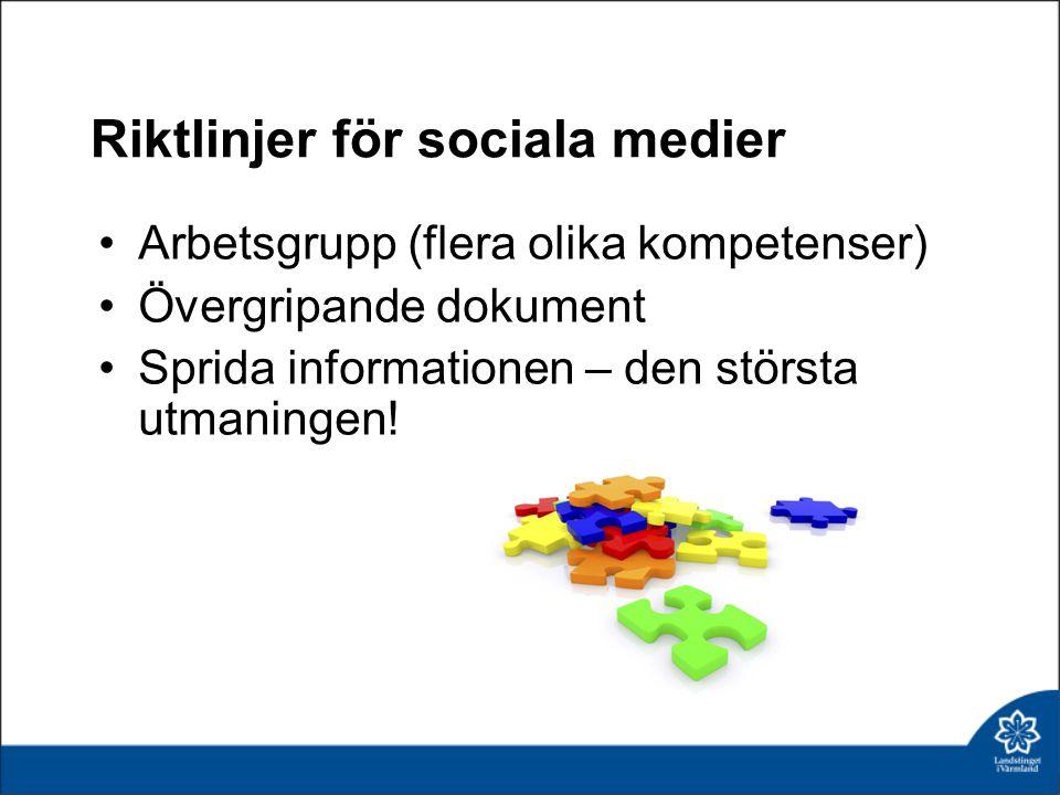 Riktlinjer för sociala medier Arbetsgrupp (flera olika kompetenser) Övergripande dokument Sprida informationen – den största utmaningen!